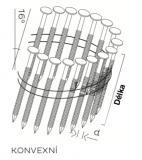 Hřebíky BDC 2,5x55 BK RING-KONVEXNÍ ve SVITKU